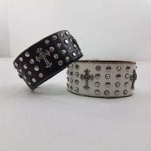 Jewelry - Cross Leather Cuff Bracelet Lot of 2 Stud Black Wh